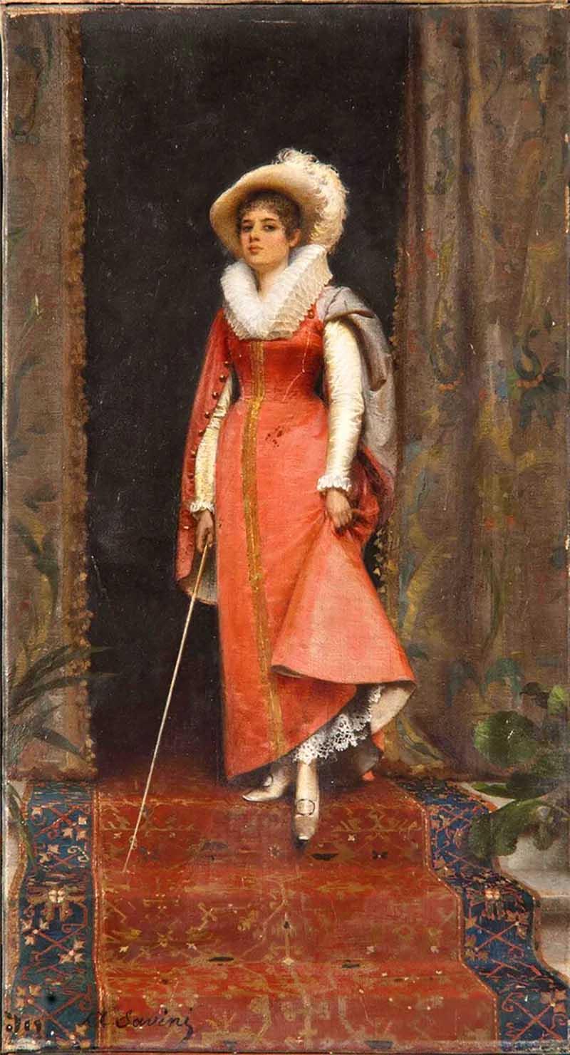 8.Молодая леди в костюме Амазонки Альфонсо Савини ( Alfonso Savini 1836 1908) итальянский художник