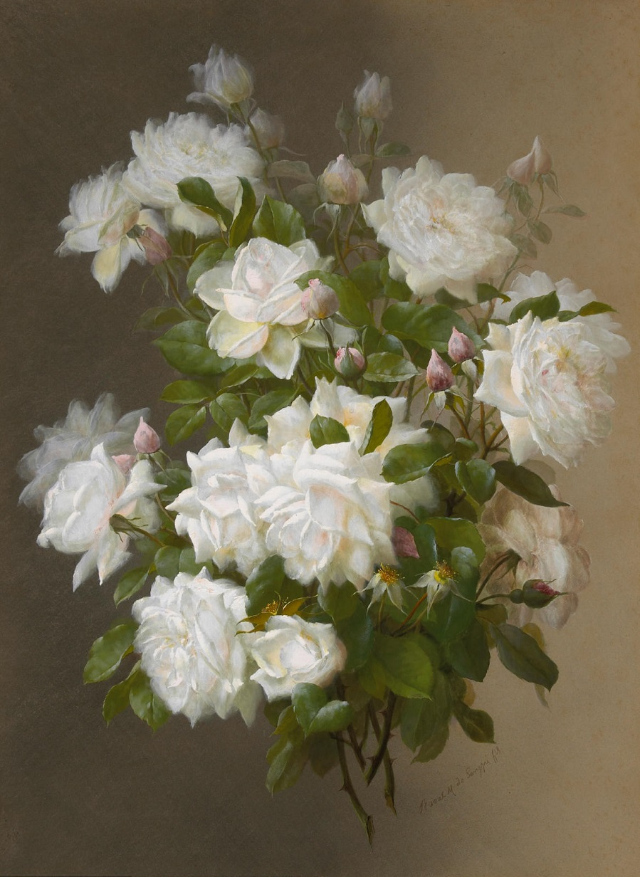 Букет белых роз художник Рауль Виктор Морис Мошера де Лонгпре
