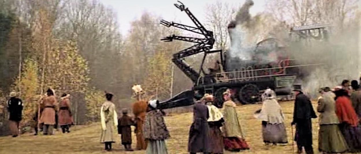 Кадр из фильма «Сибирский цирюльник» с паровой машиной-лесопилкой.