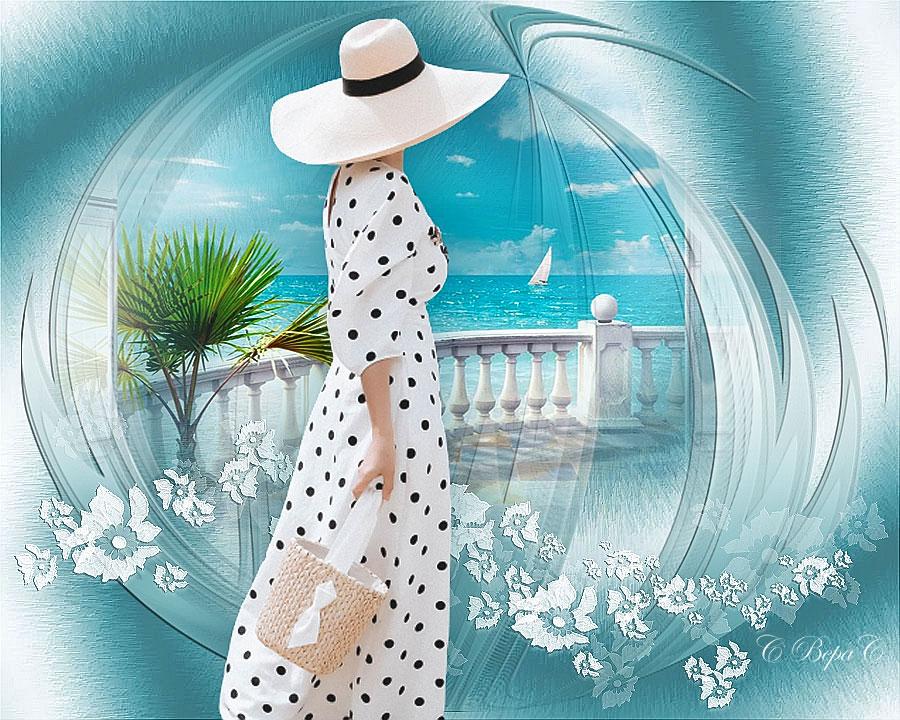 море девушка в шляпе